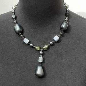 "NWT Black Gray Beaded Gemmed Necklace 12"" long on"